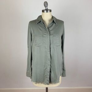 Beach Lunch Lounge Army Green Button Down